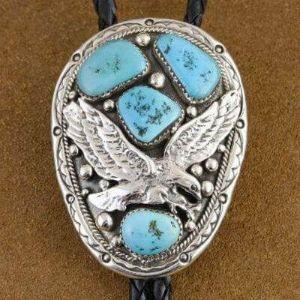 Sterling Silver Eagle Mens Bolo Tie