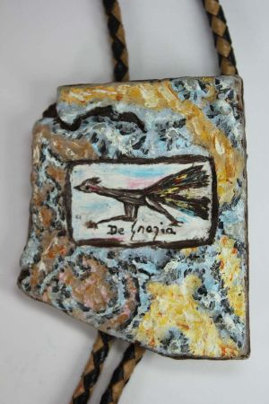 Ted De Grazia Hand Painted Road Runner Bolo Tie Painting Arizona