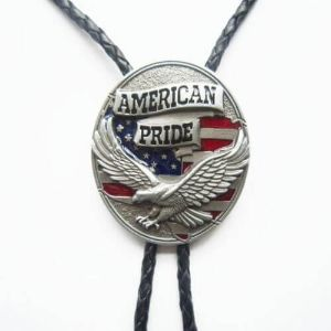 AMERICAN PRIDE EAGLE FLAG ANIMAL WESTERN RED BOLO TIE