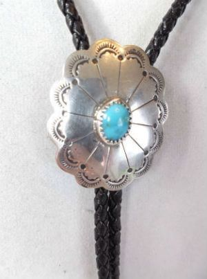 Vintage Navajo Sterling Silver Hand Stamped Concho Bolo Tie