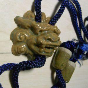 Japanese Vintage Bolo Tie Ceramic Legendary Shishi Lion